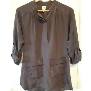 Anthro 100% Silk Edme & Esyllte Gray Tunic Blouse
